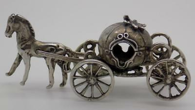 24g/0.8-oz. Vintage Solid Silver Italian Made Princess Carriage Figurine, Stamp