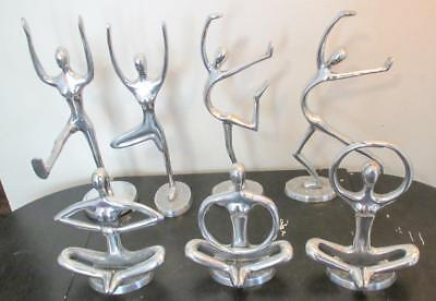 7 Abstract Art Nude Ladies Females Chrome Metal Figures Statues in Yoga Poses