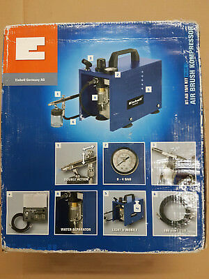 Einhell Air Brush Kompressor BT-AB 19/4 KIT BLUE + Zubehör NEU OVP Airbrush