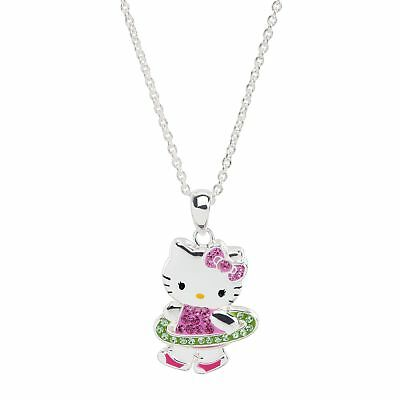 Hello Kitty Hula Hoop Pendant with Crystals in Sterling Silver-Plated Brass