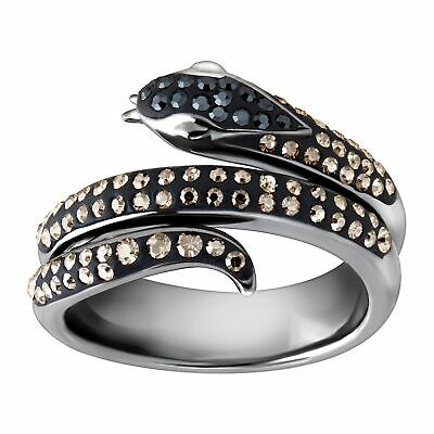 Crystaluxe Snake Ring w/ Swarovski Crystals Black Rhodium-Plated Sterling Silver