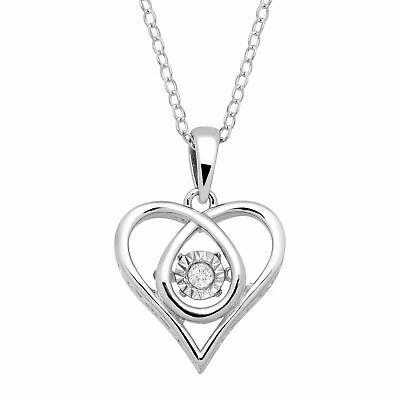 Dancing Heart Pendant with Diamond in Sterling Silver