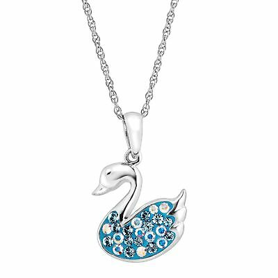 Crystaluxe Swan Pendant with Blue Swarovski Crystals in Sterling Silver