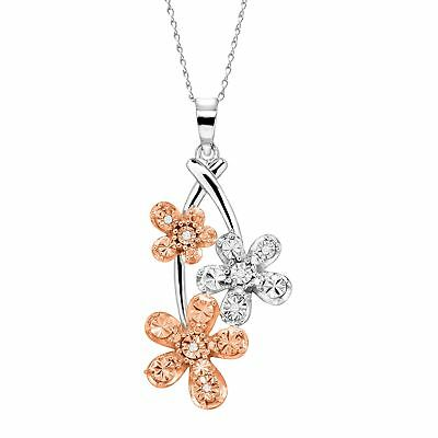 Triple Flower Pendant Necklace w/ Diamonds 14K Rose Gold-Plated Sterling Silver