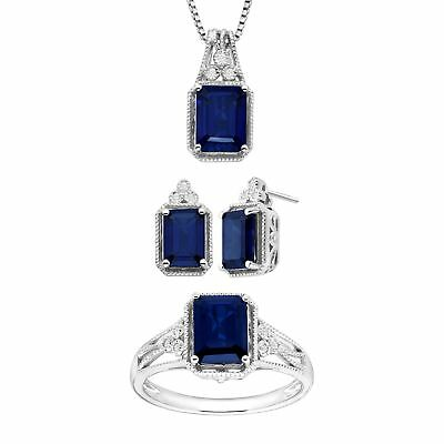 Created Sapphire Pendant, Earring & Ring Set with Diamonds in Sterling Silver