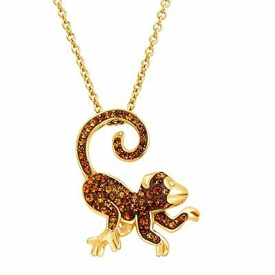 Crystaluxe Monkey Pendant w/ Swarovski Crystals, 18K Gold-Plated Sterling Silver