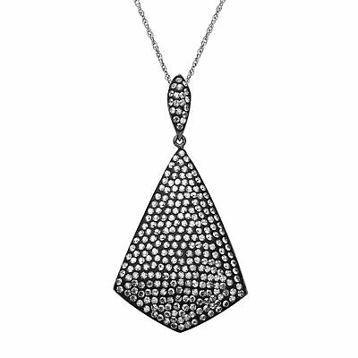 Crystaluxe Drop Pendant with Slate Swarovski Crystals in Sterling Silver