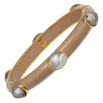 Cristina Sabatini Lace Agate Six-Stone Bangle in 18K Gold-Plated Sterling Silver