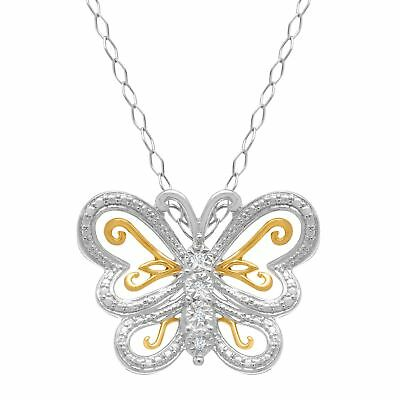 Butterfly Pendant with Diamonds in 22K Gold-Plated Sterling Silver