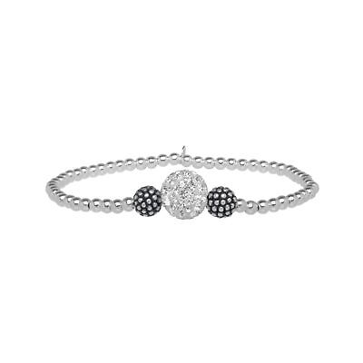 Beaded Stretch Bracelet with Swarovski Crystals in Sterling Silver