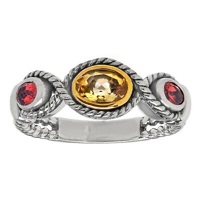 3/8 ct Natural Citrine & 1/4 ct Garnet Ring in Sterling Silver & 14K Gold