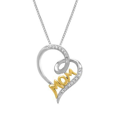 1/10 ct Diamond 'Mom' Heart Pendant in Sterling Silver & 14K Gold