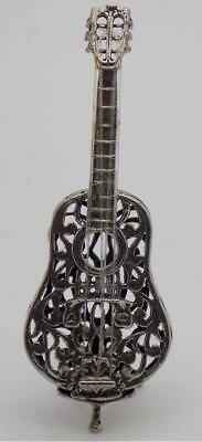 20.83g/0.734-oz. Vintage Solid Silver Italian Made Guitar Miniature, Figurine