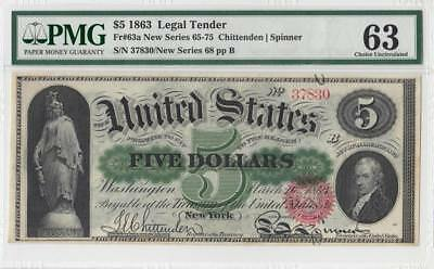"1863 United States $5 ""legal Tender"" - Pmg 63"