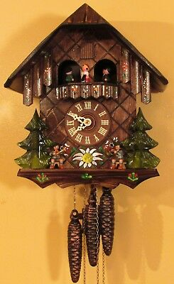 German Musical Cuckoo Clock Oompah Band Players Black Forest Germany