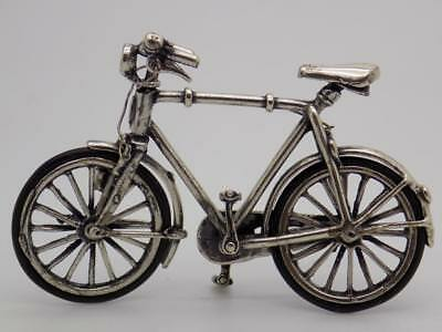 Vintage Sterling Silver 925 Italian Made Large Bicycle Miniature, Figurine,Stamp