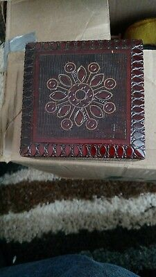 """Wooden Storage Boxapprox  2.""""h by 5""""w  - Hand-carved - Inlaid With Solid Brass"""