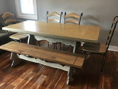 Distressed Vintage Dining Room Table with 4 chairs and bench; all solid wood