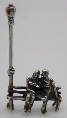 Vintage Solid Silver Italian Made Dollhouse Lovers on a Bench Figurine, Stamped