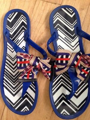 12aa7e4e76c9 MISSONI SANDALS 40 10 Flip Flops Orange Jelly Thong Chevron Pattern ...