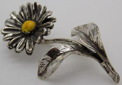 Vintage Solid Silver Italian Made Daisy Flower Miniature, Figurine, Stamped