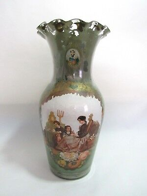 Antique 19th Century Large Ruffled Glass Flower Vase Victorian