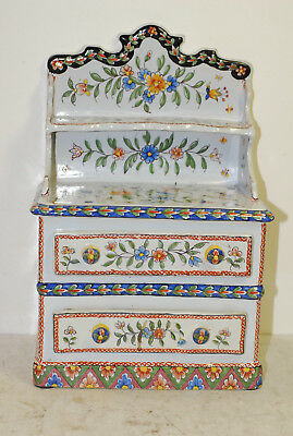 French faience bureau,late 19th century, large & heavy, signed, very colorful