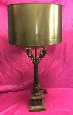 Vintage French Empire Style Brass Candelabra Table Lamp with Gold Shade - Nice!!