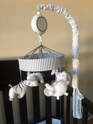 Circo Musical Crib Mobile Two By Two White Gray Animals Brahms Lullaby pre-loved