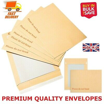 "Hard Card Board Back Backed Envelopes""please Do Not Bend Envelopes"" Brown Manila"