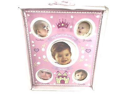 My First Enchanted Year Memories Photo Ceramic Frame Picture Baby Pink Girl New