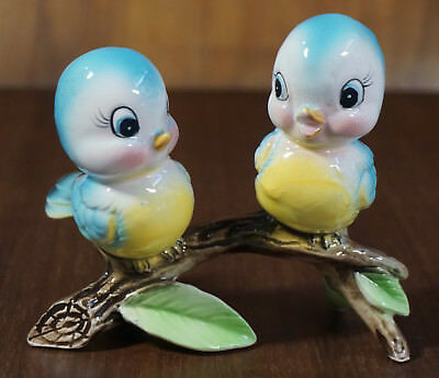 Vintage NORCREST Baby Blue BIRD Fine China Figurines, LABEL and EXCELLENT 1950s