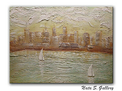 Original Sailing Abstract.Sculptural City Painting.30x40 Ready to ship by Nata S