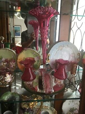Antique Victorian Cranberry Epergne.......