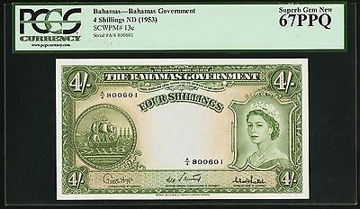 4 Shillings 1953 Bahamas Government PCGS 67 PPQ Superb Gem New