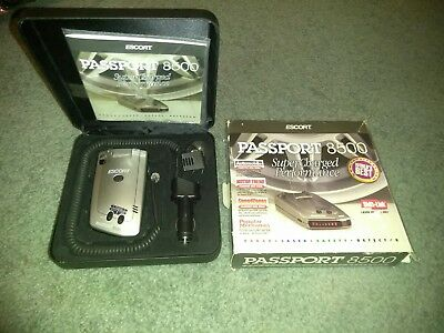 Escort Passport 8500 Radar Detector Complete with Case and Box.