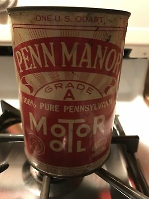Rare. Penn Manor Pure PA  Motor Oil Quart Tin Can Warren PA DIFFERENT Red Banner