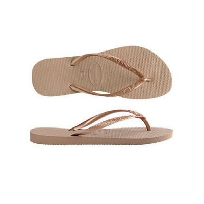 Womens  Havaianas Slim Metallic Thong Rose Gold Sandals