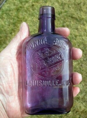 Vintage Embossed Purple Bonnie Bros. Whiskey Flask Louisville, KY c. 1872-1919