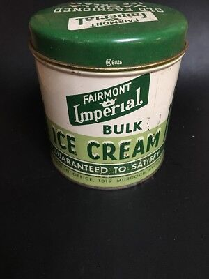 Vintage Tin Litho Can Ice Cream Dairy Imperial Fairmont Parkersburg