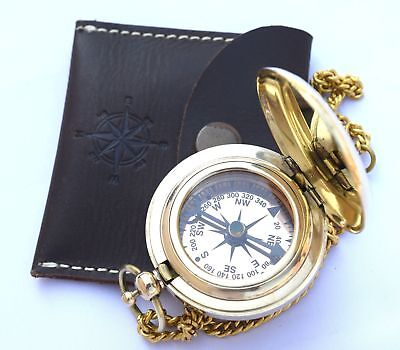 Compass On Chain Handmade Brass Push Open Leather Case Pocket Carried Easily NEW