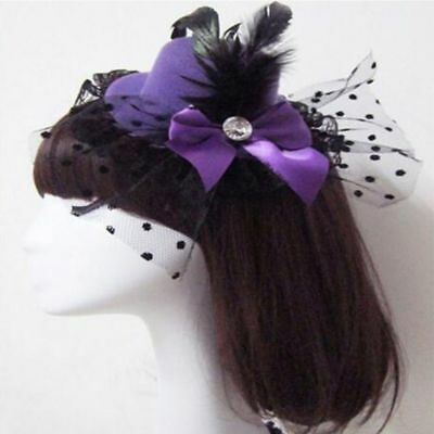 Girl Accessory Lovely Lady Feather Hat Mini Top Fascinator Lace Cap Hair Clip