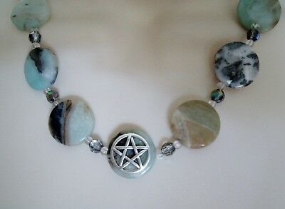 Amazonite Pentacle Necklace, wiccan pagan wicca witch witchcraft pentagram magic