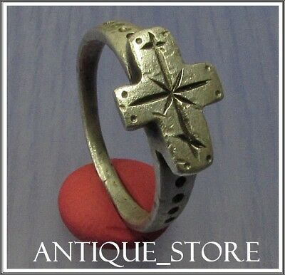 Ancient Silver Byzantine  Ring ** CROSS **