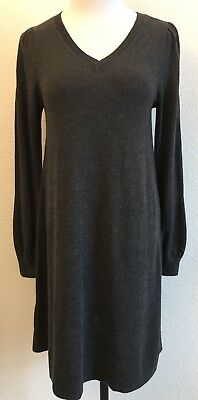 1ef9810b279 ANN TAYLOR LOFT Womens Size S Charcoal Gray Long Sleeve V-Neck Sweater Dress  NWT
