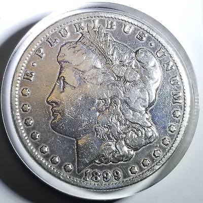 1899 USA Morgan Silver Dollar Encased Buck For Luck 14k Gold Horseshoes Shamrock