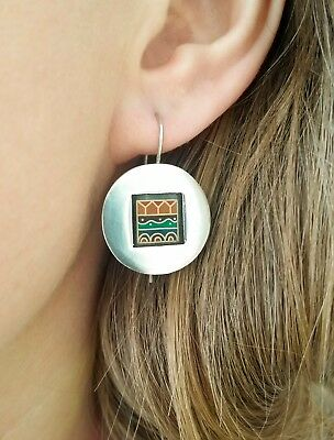 Unique 925 sterling round earrings stained glass window
