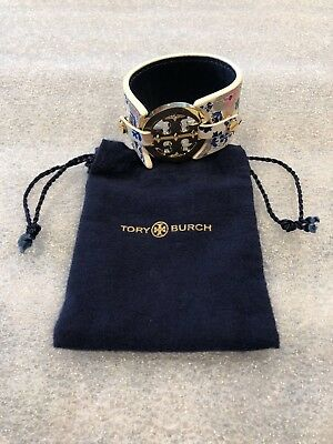 Tory Burch Logo Double-Snap Cuff Bracelet - Gold Logo - Normandy Blue - GENUINE!