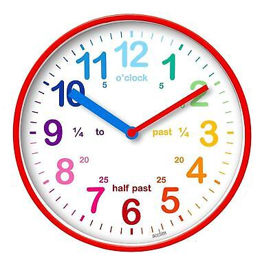 Acctim Wickford Kids White 20cm Wall Clock Colourful Dial Learn To Tell The Time