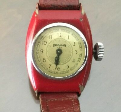 Vintage Ingraham Wrist Men's Watch Art Deco Case Parts Repair USA RED